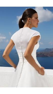 Rochie de mireasa Justin Alexander Organza Draped Illusion V-Neck Ball Gown