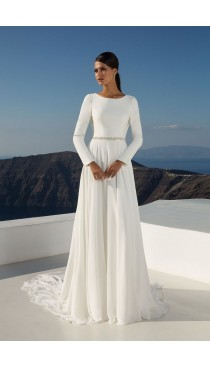 Rochie de mireasa Justin Alexander Long Sleeve Crepe Gown